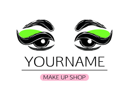 cosmetician: Black and white woman eyes with eyeliner and green eye shadow Illustration