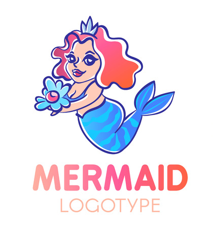 long red hair: Cute cartoon chubby smiling mermaid with long red curly hair