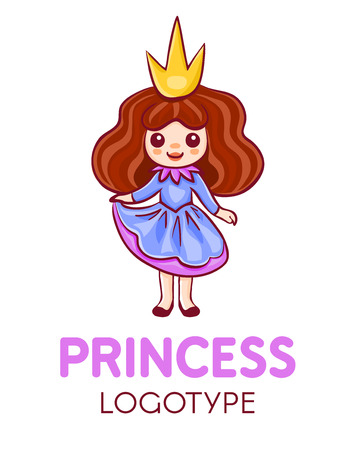 Cartoon little princess wearing blue and pink dress