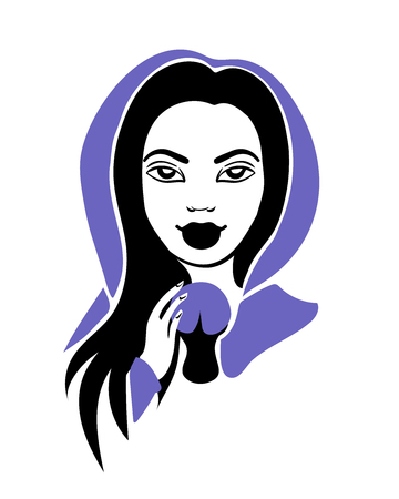 teller: Stylish 3-color vector illustration of an attractive fortune teller medium woman with long black hair wearing violet mantle with a hood and holding magic ball in her hands isolated on white background