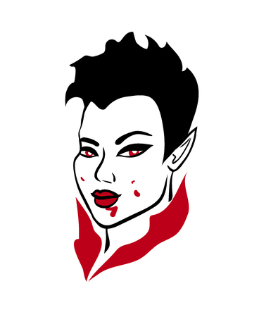 3-color vector illustration of seductive asian vampire demon girl with red eyes, stylish short haircut and blood splashes on her face isolated on white background, graphic element for halloween design