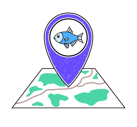Textured violet geotag pointing at a map, blue fish. River, lake, sea, ocean fishing symbol. Pet shop icon. Illustration
