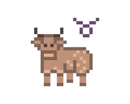 Taurus Zodiac sign icon, 8 bit pixel art brown bull isolated on white background. Astrological symbol. Esoteric science logo. Horoscope emblem. Reklamní fotografie - 138030059