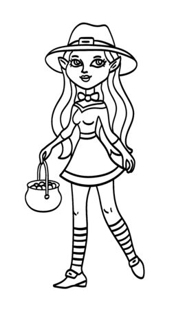 Leprechaun woman in a short dress and a hat walking with a pot of gold, black outline cartoon saint patricks day Irish folklore character illustration isolated on white background. Coloring book page