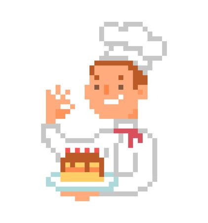 Happy chef in uniform presenting cake, 8 bit pixel art cartoon character isolated on white background. Male baker mascot. Man showing dessert. Restaurant/cafe logo.