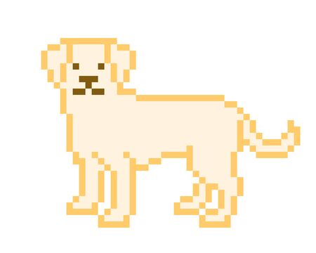 Yellow Labrador Retriever standing on the ground, pixel art character isolated on white background. Old school 8 bit slot machine animal pictogram. Retro 80s; 90s video game graphics. Pet shop logo.