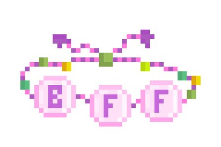 Best friends forever, pink braided bracelet decorated with green and yellow beads, pixel art icon isolated on white background. 8 bit old school vintage retro slot machinevideo game graphics.