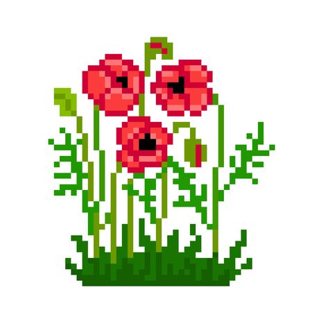 Red poppy flowers in bloom in the grass, pixel art icon isolated on white background. 8 bit summer flowering plant symbol. Old school vintage retro slot machine/video game graphics.