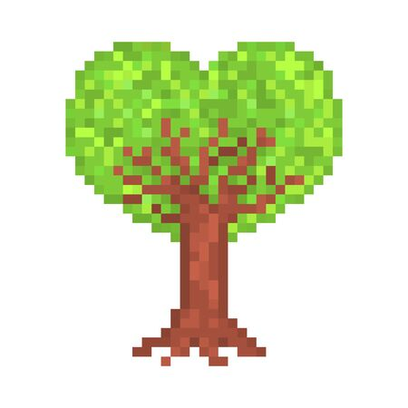 8 bit pixel art heart-shaped crown tree isolated on white, symbol of love growing, Valentine's day, nature care, ecology issues, environmental problems, climate change concerns, forest protection.