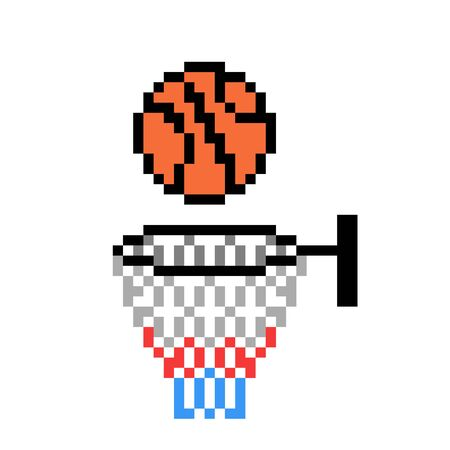 Ball going into hoop, pixel art basketball icon isolated on white background. 8 bit team sport logo. Old school vintage retro slot machinevideo game graphics.