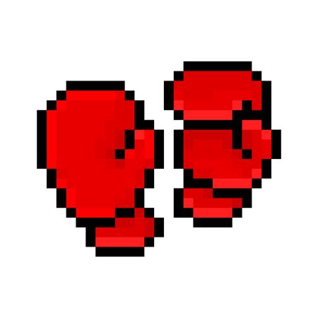 Red boxing gloves, pixel art icon isolated on white background. 8 bit combat sport equipment logo. Old school vintage retro slot machinevideo game graphics.