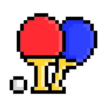 and blue rackets and a ball, pixel art table tennis icon isolated on white background. 8 bit  Sport equipment emblem. Old school vintage retro slot machine game graphics.