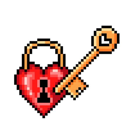 Red glossy heart-shaped lock with a golden key, pixel art icon isolated on white background. 8 bit fidelity, wedding, marriage, love symbol. Old school vintage retro slot machinevideo game graphics.