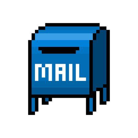 Blue mailbox, pixel art icon isolated on white background. 8 bit post box symbol. Old school vintage retro slot machine/video game graphics.