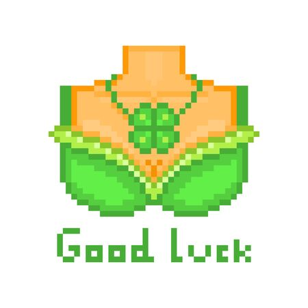 Sexy leprechaun girl waitress breast in a green bra and shamrock pendant necklace, pixel art Saint Patrick's Day character isolated on white. Good luck wish. 8 bit slot machine/video game graphics. Ilustração