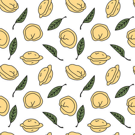 Seamless pattern with dumplings and dried bay leaves on white background. Pelmeni/pierogi wallpaper. Traditional russian cuisine dish.