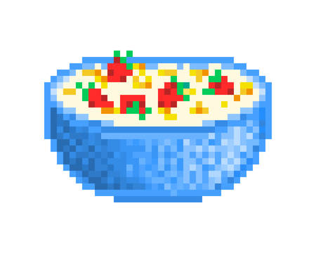 Big blue bowl of cornflakes served with milk and fresh strawberries, 8 bit pixel art icon isolated on white background.Dry muesli mix. Homemade healthy breakfast idea. Quick and easy dessert recipe.