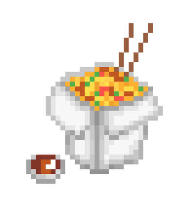 Chinese food box, pixel art icon isolated on white background. Noodles with vegetables, mushrooms, meat and soy sauce bowl. Chinese cuisine restaurant logo. Takeaway fast food. Asian product delivery. 向量圖像