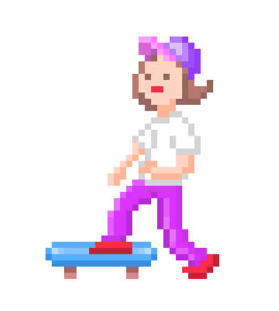 Fit teenage girl riding skateboard, pixel art character isolated on white background. Summer city activity. Extreme urban action sport. Skatepark mascot. Healthy lifestyle symbol. Retro game graphics.