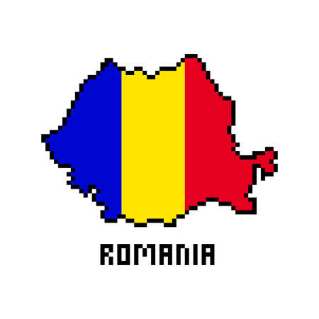 2d 8 bit pixel art Romania map covered with flag isolated on white background. Old school vintage retro 80s, 90s platform computer, video game graphics. Slot machine design element. Country geography.