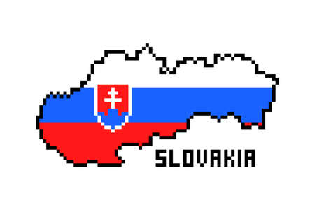 2d 8 bit pixel art Slovakia (Slovak Republic) map covered with flag isolated on white background. Old school vintage retro 80s, 90s platform computer, video game graphics. Slot machine design element.