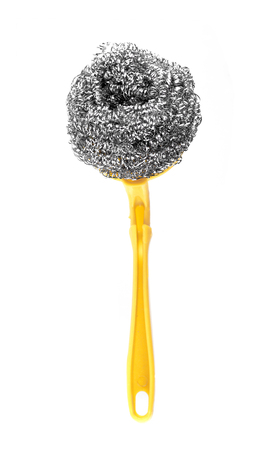steel wool: A steel wool dishwashing on a white background Stock Photo