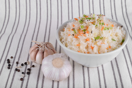 Fried rice with garlic butter Stock Photo