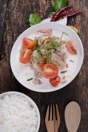 Thai style coconut milk soup with chicken, (Tom Kha Gai ) Stock Photo
