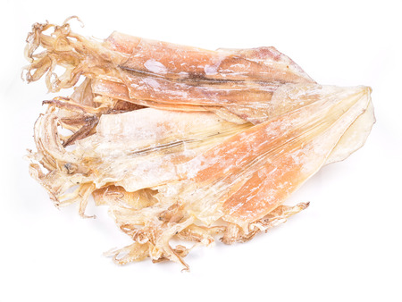 Dried squid on white background