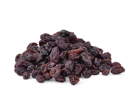 dried grapes on white