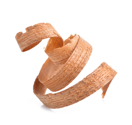 Wood shavings isolated on white background Stock Photo