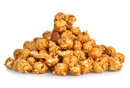 pieces of caramel popcorn on a white background Stock Photo