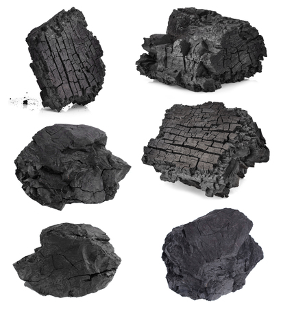 Charcoal isolated on white Imagens
