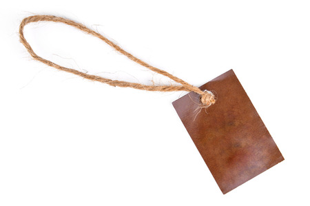 brown paper tags Isolated On White Background. Stock Photo