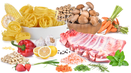 Cooking pork, vegetables, spices isolated on white background.