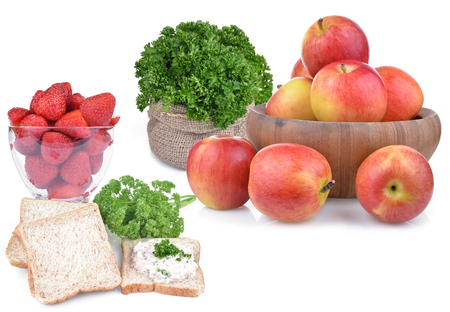 Fruits and vegetables isolated on white. Stock Photo