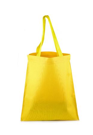 Yellow cloth bag on white background Stock Photo