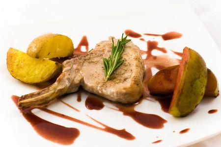 pork chops: Grilled pork