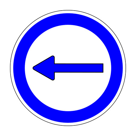 motorist: Traffic Sign, Keep Left sign on white background, Arrow icon, Left arrow circular icon on white background, Turn left traffic sign, Arrow indicates the direction on left, Stock Vector illustration Illustration