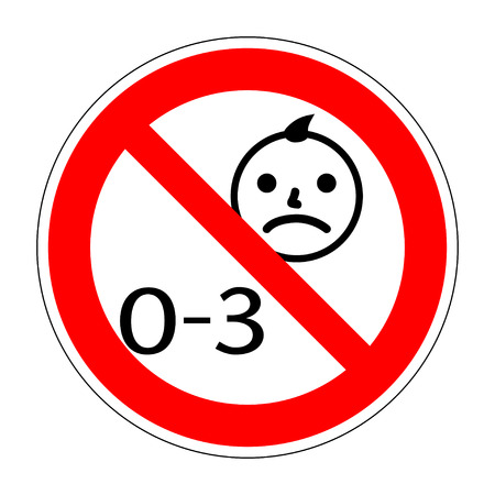 No kids 0-3 year old sign. Warning symbol. Button prohibited from using kid under three years. Not for children under 3 years of age. Stock vector illusration