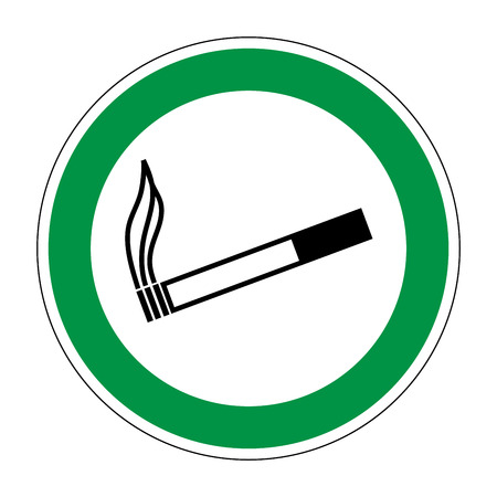 cigar label: Sign place for smoking. Flat symbol for smoker. Modern art scoreboard. Allowed smoke graphic image. Plane mark in green circle on white background. Permission figure. Stock vector illustration