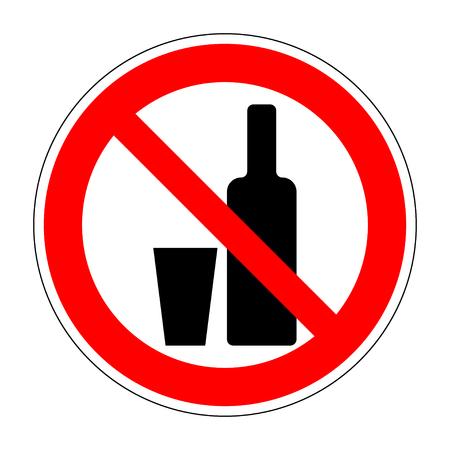 No drinking sign. No alcohol sign isolated on white background. No alcohol allowed sign. No alcohol no drink prohibition sign icon illustration. No alcohol icon. Stop alcohol Stock Vector illustration Ilustração Vetorial