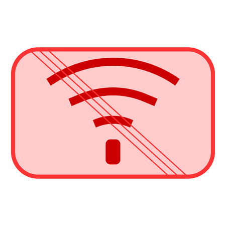 no signal: No Wifi sign. Bad internet connection sign. No signal, bad antenna, no wifi, no wireless connection symbol. Wi-fi symbol. Wireless Network icon. No wifi. Red prohibition sign. Stock Vector ilustration