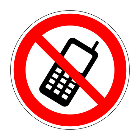 no cell phone sign: No phone sign. No phone icon great for any use. Vector no cell phone image. Flat design style. Mobile phone prohibited. No cell phone sign isolated on white background. Stock Vector illustration