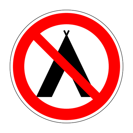 Sign no camping. Tourist tent icon. Forbidden symbol. Prohibition image of no camp allowed. Modern art scoreboard. No campsite red mark isolated on white background. Stock Vector illustration Vectores