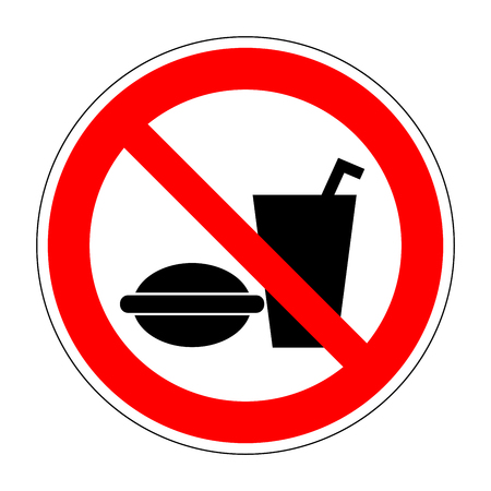 no food: Sign no eat and drink. No food red image isolated on white background. Forbidden symbol. Modern art scoreboard. Prohibition mark of no eating and drinking allowed. Stock vector illustration