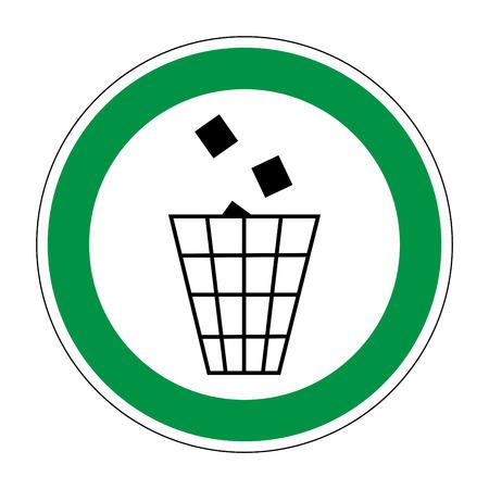 tirar basura: Inscripci�n lugar para tirar basura. s�mbolo plana de la basura. marcador arte moderno. Permitido imagen gr�fica. Avi�n se niegan marca en c�rculo verde sobre fondo blanco. la figura de reciclaje. Ilustraci�n vectorial material Vectores