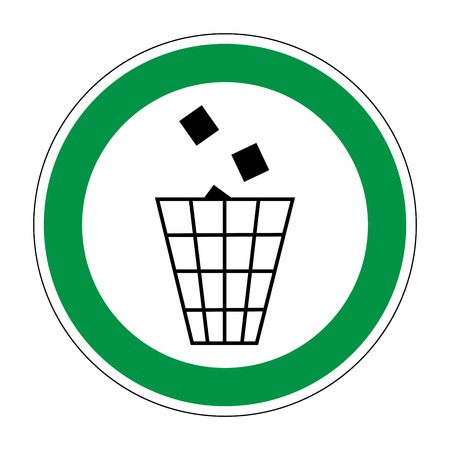 refuse: Sign place for littering. Flat symbol of garbage. Modern art scoreboard. Allowed graphic image. Plane refuse mark in green circle on white background. Recycle figure. Stock vector illustration Illustration