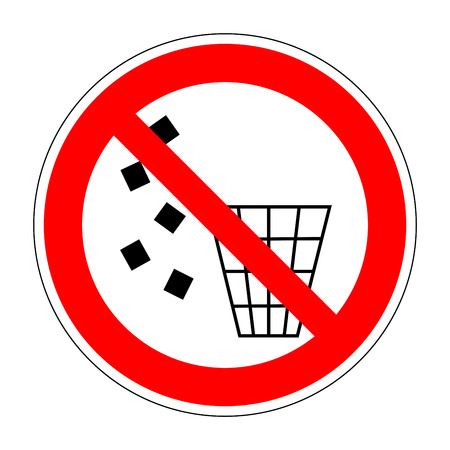 refuse: Sign no littering. Forbidden to throw garbage. Stop label print. No debris symbol. Not allowed refuse flat symbol. No trash red prohibition plane icon on white background. Stock vector illustration