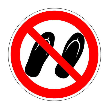 slipper: Sign no sandals. No slipper red prohibition plane icon on white background. Not allowed shoe flat symbol. Forbidden entry in step-ins. Stop label print. Ban flip flops. Stock vector illustration Illustration
